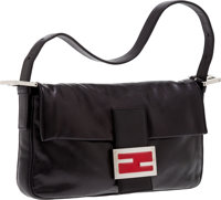 9e36556a13 Heritage Vintage: Fendi Black Nappa Leather Classic Baguette with Red  Enamel Signature FF Clasp