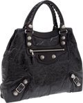 Luxury Accessories:Bags, Heritage Vintage: Balenciaga Black Brief Tote with Giant SilverHardware. ...