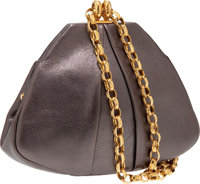Heritage Vintage: Chanel Pewter Metallic Leather Very Rare Long Chain Strap Evening Bag with CC on Base