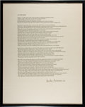 """Books:Prints & Leaves, [William Everson]. Brother Antoninus. Signed Broadside, """"At theEdge"""". [N.p., n.d., 1952]. First edition. Signed by Everso..."""
