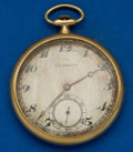 Timepieces:Pocket (post 1900), Agassiz 14k Gold Watch For C.D. Peacock. ...