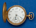 Timepieces:Pocket (post 1900), Elgin 14k Gold O Size 17 Jewel Hunter's Case Pocket Watch. ...