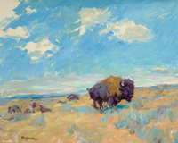 FRANK B. HOFFMAN (American, 1888-1958) Buffalo Oil on board 16 x 20 inches (40.6 x 50.8 cm) Si