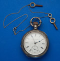 Timepieces:Pocket (pre 1900) , Elgin 17 Jewel Coin Silver Key Wind Pocket Watch. ...
