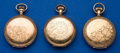 Timepieces:Pocket (post 1900), Three American Gold Hunter's Cases Filled Pocket Watches. ...(Total: 3 Items)