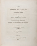 Books:Literature Pre-1900, Lucretius. John Mason Good [translator]. The Nature ofThings. London: Longman, et al., 1805. Two quarto volumes....(Total: 2 Items)