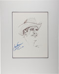 Autographs:Celebrities, James Garner. Signed and Dated Original Portrait. [N.p.], 12/4/96.Signed by Garner and artist John Tibbetts. ...