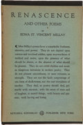Books:Horror & Supernatural, Edna St. Vincent Millay. Renascence and Other Poems. NewYork: Mitchell Kennerley, 1917. First edition, first is...