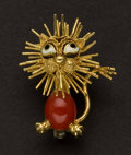 Estate Jewelry:Brooches - Pins, Charming 18k Gold Coral & Enamel Lion Brooch. ...