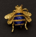 Estate Jewelry:Brooches - Pins, Terrific 18k Gold & Enamel Bee Brooch. ...
