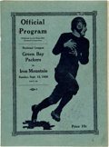 Football Collectibles:Programs, 1926 Green Bay Packers Vs. Iron Mountain Mountaineers Program....