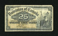 Canadian Currency: , DC-15b 25¢ 1900.. Original paper surfaces are noticed on thisshinplaster. Fine....