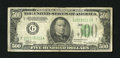 Small Size:Federal Reserve Notes, Fr. 2201-G $500 1934 Federal Reserve Note. Fine.. A small blue ink mark is at top center, while the back shows a small pull ...