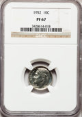 Proof Roosevelt Dimes: , 1952 10C PR67 NGC. NGC Census: (283/138). PCGS Population (412/30).Mintage: 81,980. Numismedia Wsl. Price for problem free...