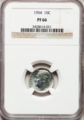 Proof Roosevelt Dimes: , 1954 10C PR66 NGC. NGC Census: (178/647). PCGS Population(530/564). Mintage: 233,300. Numismedia Wsl. Price for problemfr...