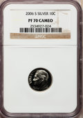 Proof Roosevelt Dimes, 2006-S 10C Set of Two Roosevelt Dimes Silver PR70 Deep Cameo NGC.This set includes: 2006-S 10C Roosevelt Dime Silver PR70... (Total:2 coins)