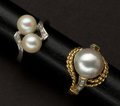 Estate Jewelry:Rings, Two Pearl & Gold Rings. ... (Total: 2 Items)
