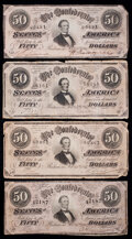 Confederate Notes:1864 Issues, T66 $50 1864. Four Examples.. ... (Total: 4 notes)
