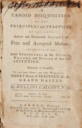 Books:Americana & American History, Wellins Calcott. A Candid Disquisition...of Free and AcceptedMasons... London & Boston: 1772. Boston reprint....