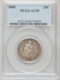 Seated Quarters: , 1868 25C AU55 PCGS. PCGS Population (2/29). NGC Census: (1/20).Mintage: 29,400. Numismedia Wsl. Price for problem free NGC...