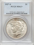 Peace Dollars: , 1927-S $1 MS63+ PCGS. PCGS Population (1751/1329). NGC Census:(942/1124). Mintage: 866,000. Numismedia Wsl. Price for prob...