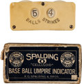 Baseball Collectibles:Others, 1887 Spalding Umpire's Counter with 5 Balls, 4 Strikes....