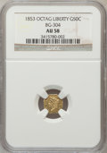 California Fractional Gold: , 1853 50C Liberty Octagonal 50 Cents, BG-304, Low R.5, AU58 NGC. NGCCensus: (4/6). PCGS Population (7/32). (#10424)...