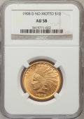 Indian Eagles, 1908-D $10 No Motto AU58 NGC....