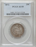 Seated Quarters: , 1872 25C AU55 PCGS. PCGS Population (7/23). NGC Census: (7/28).Mintage: 182,000. Numismedia Wsl. Price for problem free NG...