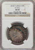 Bust Half Dollars: , 1818/7 50C Large 8 AU50 NGC. O-101a. NGC Census: (0/0). PCGSPopulation (11/70). (#6115)...
