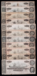 Confederate Notes:1864 Issues, T67 $20 1864. Eleven Examples.. ... (Total: 11 notes)