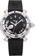 Estate Jewelry:Watches, Chopard Unisex Diamond, Stainless Steel, Rubber Strap Happy Sport Calendar Wristwatch, modern. ...