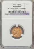 1925-D $2 1/2 --Rev Improperly Cleaned--NGC Details. AU. NGC Census: (14/18852). PCGS Population (71/12419). Mintage: 57...