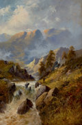 Fine Art - Painting, European, ALFRED DE BREANSKI (British, 1852-1928). River Landscape. Oil on canvas. 30 x 20 inches (76.2 x 50.8 cm). Signed lower r...