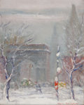 Paintings, JOHANN BERTHELSEN (Danish/American, 1883-1972). Washington Square, New York. Oil on canvas board. 10-1/4 x 8-1/4 inches ...