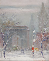 JOHANN BERTHELSEN (Danish/American, 1883-1972) Washington Square, New York Oil on canvas board 10