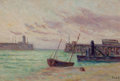 Paintings, MAXIMILIEN LUCE (French, 1858-1941). Le Entrée du Port. Oil on canvas. 11-3/4 x 17-1/2 inches (29.8 x 44.5 cm). Signed l...