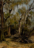 Fine Art - Painting, American:Antique  (Pre 1900), CLEMENT T. YOUENS (American, 1864-1964). A Swamp, BurlesonCounty Texas, 1894. Oil on canvas. 14 x 12 inches (35.6 x30....