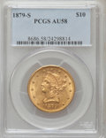 Liberty Eagles: , 1879-S $10 AU58 PCGS. PCGS Population (50/67). NGC Census:(199/131). Mintage: 224,000. Numismedia Wsl. Price for problem f...