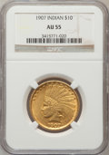 Indian Eagles: , 1907 $10 No Periods AU55 NGC. NGC Census: (108/5754). PCGSPopulation (306/5143). Mintage: 239,400. Numismedia Wsl. Price f...