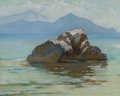 Fine Art - Painting, American:Modern  (1900 1949)  , GEORGE RANDOLPH BARSE (American, 1861-1938). The SorrentiaPeninsula from Capri, 1923. Pastel on paper. 15 x 19-1/2inch...
