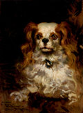 Fine Art - Painting, American:Antique  (Pre 1900), JAMES CARROLL BECKWITH (American, 1852-1917). The Duke ofMarlborough, Portrait of a Puppy. Oil on panel. 13-3/4 x 10in...