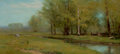 Fine Art - Painting, American:Antique  (Pre 1900), ALBION HARRIS BICKNELL (American, 1837-1915). Spring Landscapewith Trees along a Stream. Oil on panel. 9 x 18-1/2 inche...