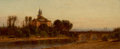 Paintings, SAMUEL COLMAN (American, 1832-1920). European River View with Bridge and Church. Oil on panel. 6-1/2 x 14-1/4 inches (16...