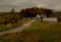 Fine Art - Painting, American:Antique  (Pre 1900), GEORGE HENRY BOUGHTON (American, 1833-1905). The Meet. Oilon canvas tacked over panel. 10 x 14 inches (25.4 x 35.6 cm)...