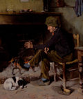 Paintings, BENJAMIN WEST CLINEDINST (American, 1859-1931). Man with his Dog before a Hearth, 1884. Oil on canvas. 2-1/4 x 17-3/4 in...