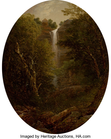 JOHN WILLIAM CASILEAR (American, 1811-1893) In the Catskills Oil on canvas laid on board 19-3/4 x 15-1/2 inches (50.2...