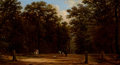 Fine Art - Painting, European:Antique  (Pre 1900), VICTOR DE GRAILLY (French, 1804-1889). Riders in a Park. Oilon canvas. 8-3/4 x 16-1/4 inches (22.2 x 41.3 cm). Signed l...
