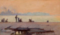 Fine Art - Painting, American:Antique  (Pre 1900), CHARLES COURTNEY CURRAN (American, 1861-1942). Fishermen on theDock, 1895. Oil on panel on panel. 5 x 8-1/2 inches (12....