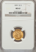 Liberty Quarter Eagles: , 1899 $2 1/2 MS62 NGC. NGC Census: (214/430). PCGS Population(180/417). Mintage: 27,200. Numismedia Wsl. Price for problem ...